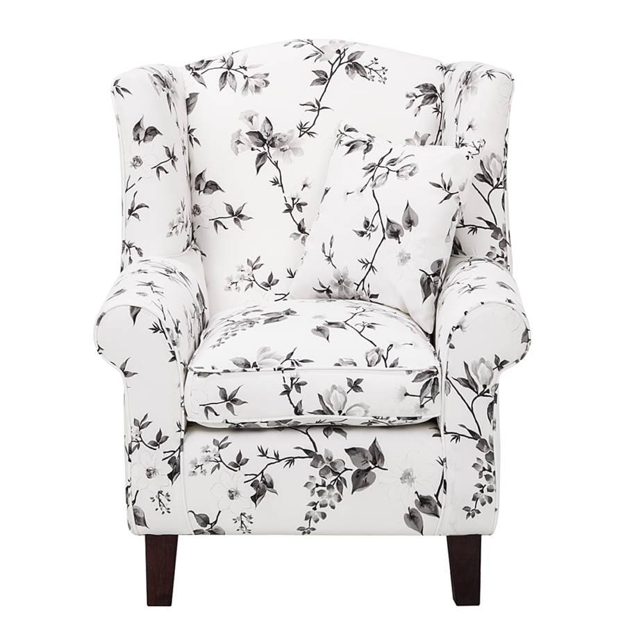 Sessel schwarz Hocker Weiß Mit WebstoffBlume Colmar QCBhrxtsd