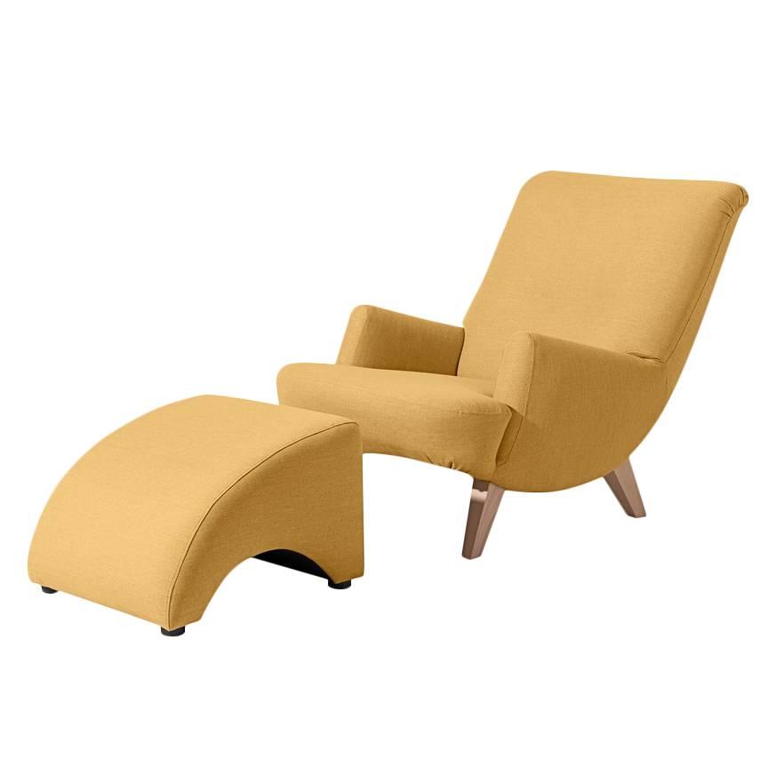 sessel mit hocker gelb williamflooring. Black Bedroom Furniture Sets. Home Design Ideas