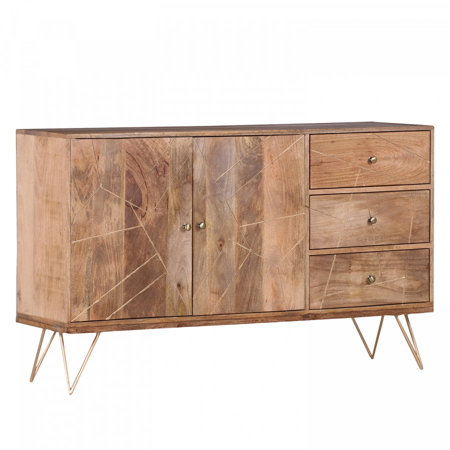 Sideboard Argallo Mango Massiv Metall Home24