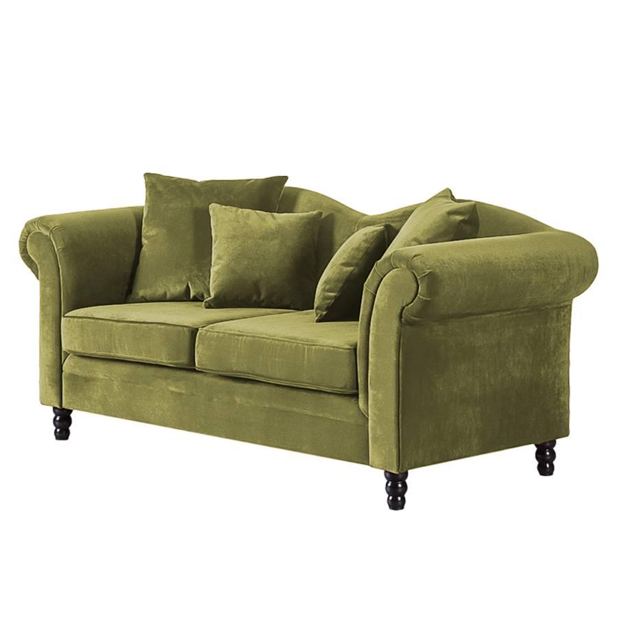 Sofa York (2 Sitzer)   Samtstoff Olivgrün