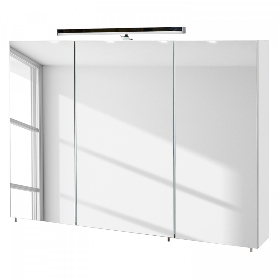 eclairage miroir Armoire à miroir Alba (avec éclairage) - Blanc - 100 cm