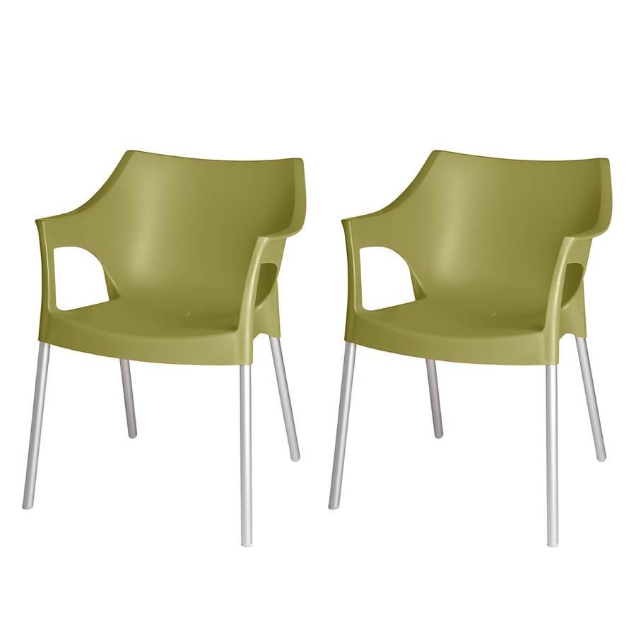 Stapelstuhl Pole (2er Set)   Kunststoff/Aluminium   Olivgrün/Chromfarben