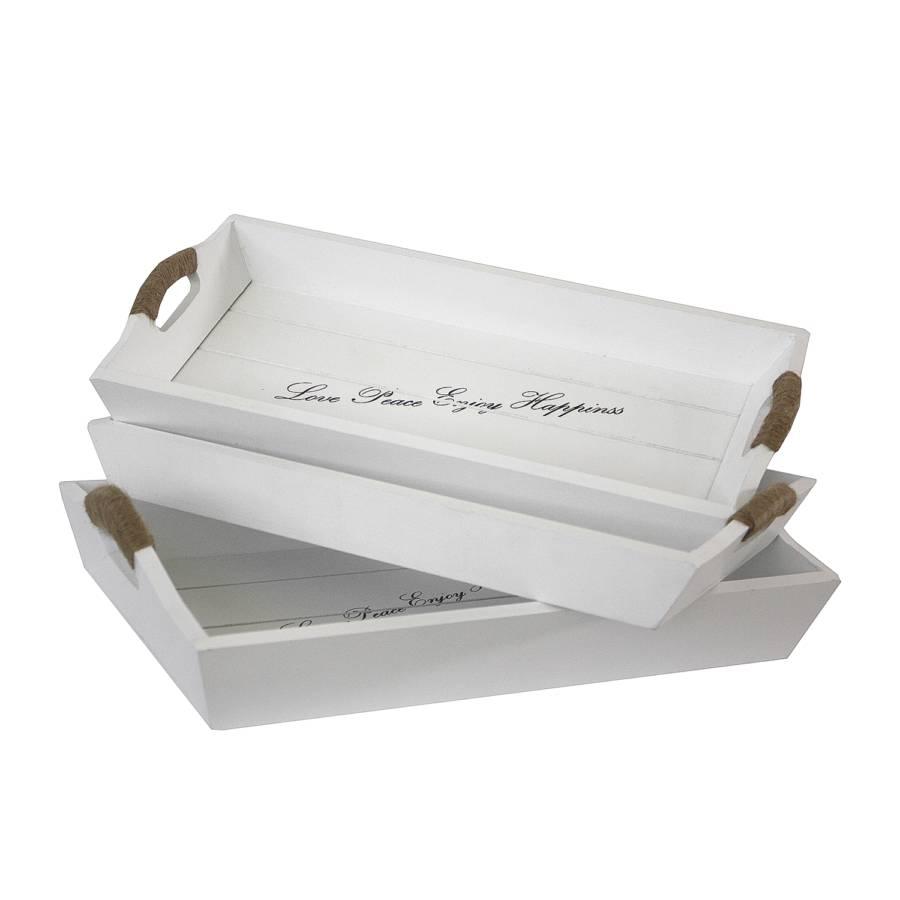 Tablett Marmande (3er-Set) - Weiß | home24