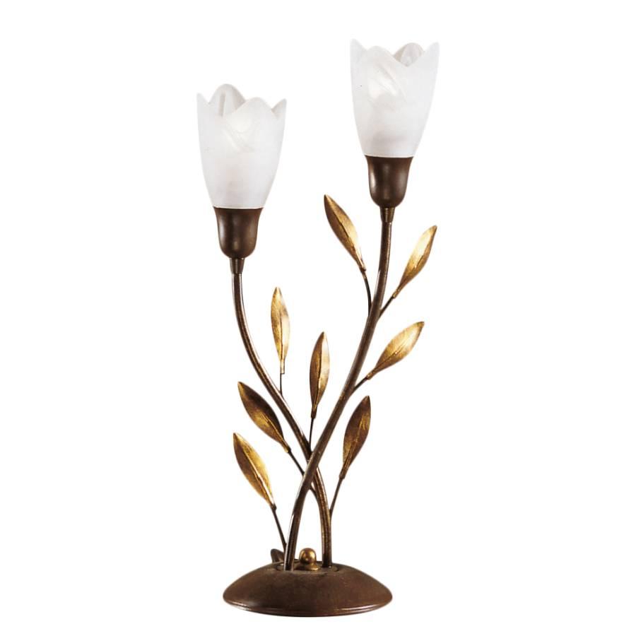 Metall Campana weiß flammig Tischleuchte 2 glasGold XiTZPkOu