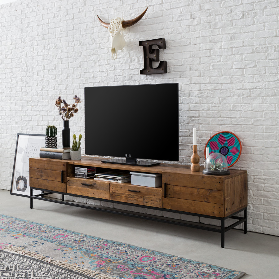 Ii PinieMetallDunkel Tv Schwarz Altholz lowboard Grasby AR3q54jL