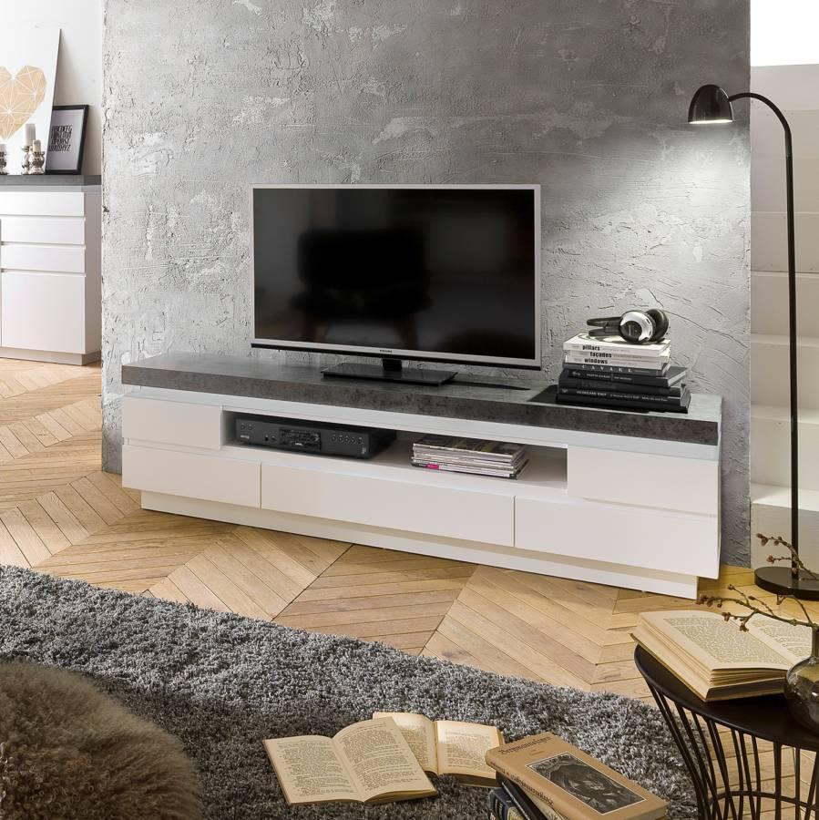 Dekor Ii Tv lowboard Namona InklBeleuchtungMatt WeißBeton IYb29DHeWE