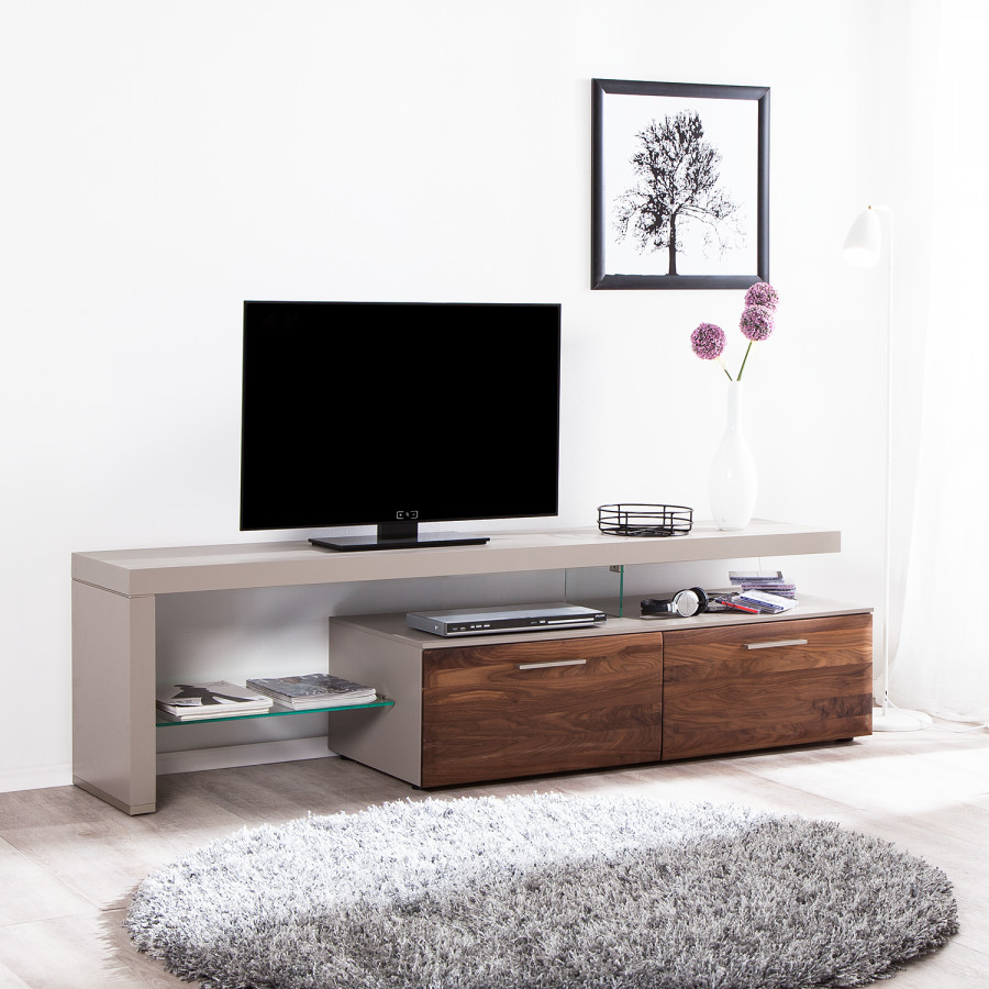 lowboard NussbaumPlatingrauMit Tv Links Solano I Beleuchtung Ausrichtung E9WHID2Y