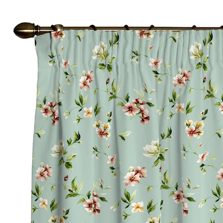 Vorhang mit Kräuselband - Blumen klein Hellblau | home24