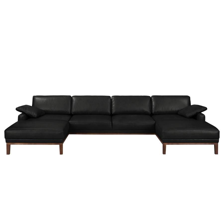 Canapé Cuir Véritable Noir Horley Panoramique bf6yg7