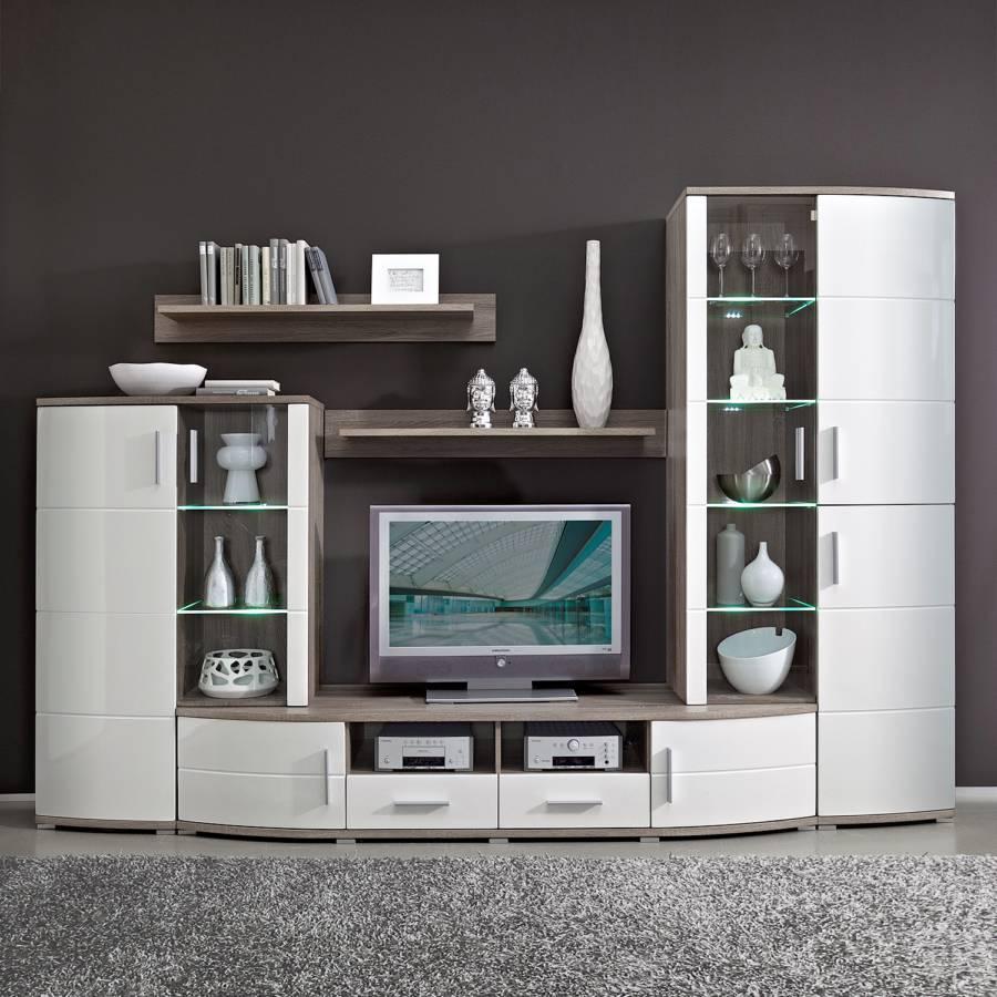 wohnwand holz dunkel, modoform wohnwand – für ein modernes heim | home24, Design ideen