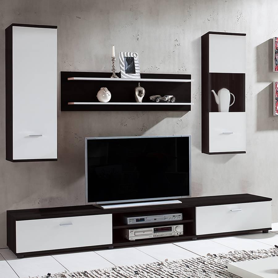 Wohnwand Grinda (4-teilig) - Schwarz/Weiß | home24