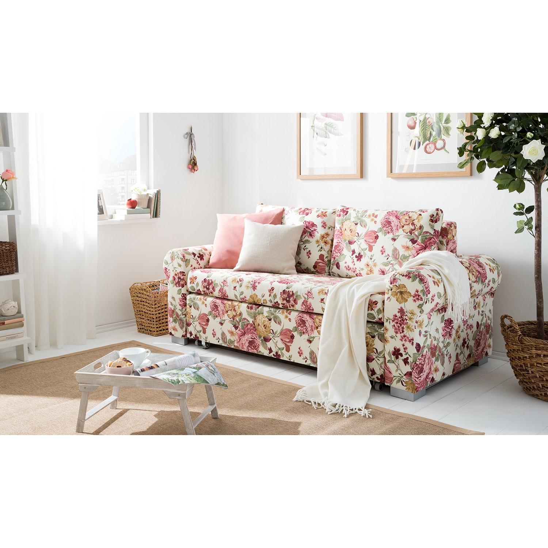 home24 mooved Schlafsofa Latina XII 2-Sitzer Beige/Pink Webstoff 185x90x90 cm mit Schlaffunktion und Bettkasten