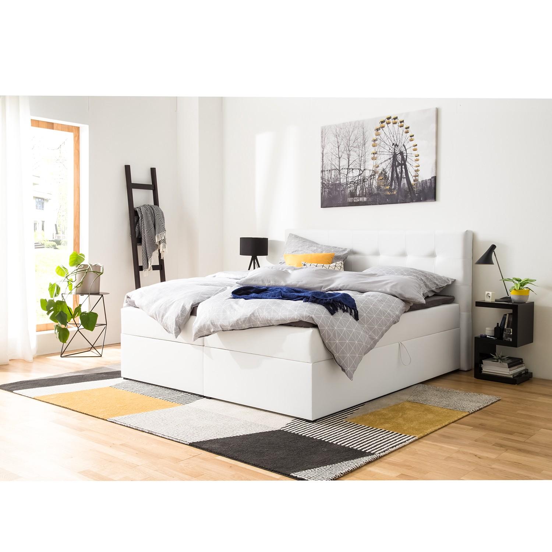 home24 Polsterbett KiYDOO IV 140x200 cm Kunstleder Weiß mit Bettkästen/Matratze/Kaltschaumtopper