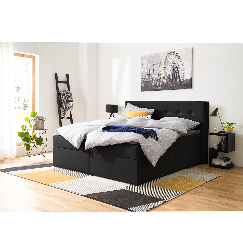 home24 Polsterbett KiYDOO IV 180x200 cm Kunstleder Schwarz mit Bettkästen/Matratze/Kaltschaumtopper