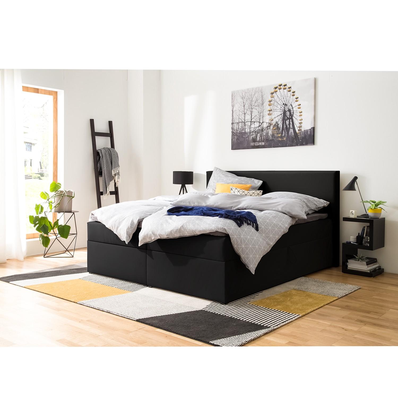 home24 Polsterbett KiYDOO V 140x200 cm Kunstleder Schwarz mit Bettkästen/Matratze/Kaltschaumtopper