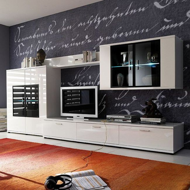 EEK A+, Ensemble de meubles TV Corana III (4 éléments) - Blanc brillant - Avec éclairage, Fredriks