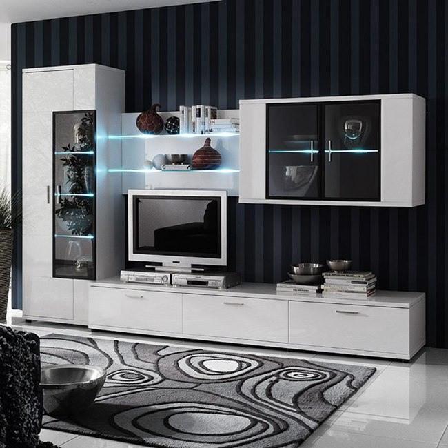 EEK A+, Ensemble de meubles TV Corana I (4 éléments) - Blanc brillant - Avec éclairage, Fredriks