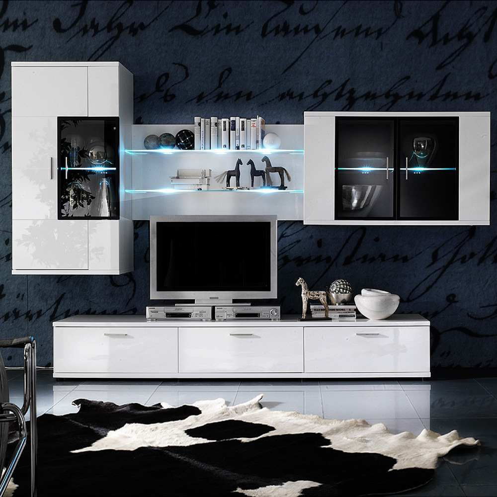 EEK A+, Ensemble de meubles TV Corana volts (4 éléments) - Blanc brillant - Avec éclairage, Fredriks