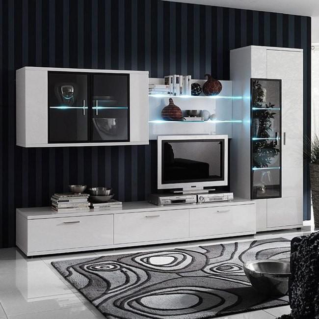 Ensemble de meubles TV Corana II (4 éléments) - Blanc brillant - Sans éclairage, Fredriks