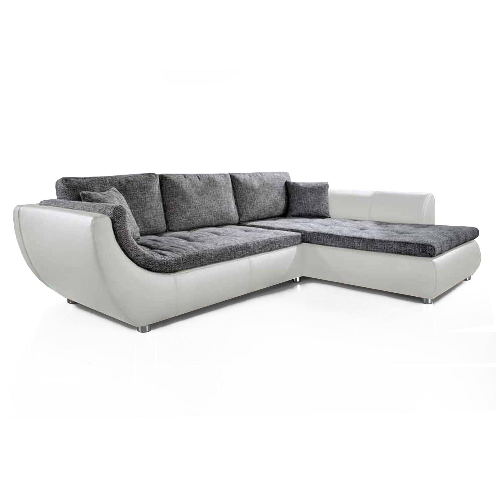 goedkoop Hoekbank Nikolas kunstleer geweven stof longchair vooraanzicht rechts Wit grijs Home Design
