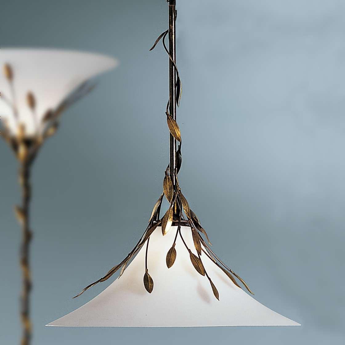 EEK A+, Pendelleuchte Campana - Metall/Glas - Bronze/Opal - 1-flammig, Hans Kögl