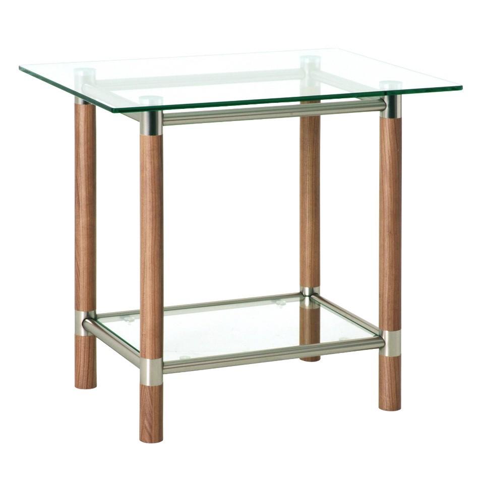 Tavolino d'appoggio Carlos I - Legno massello/Acciaio Color noce/argento, Home Design