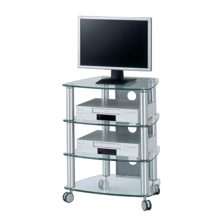 Meuble TV Catrina - Aluminium - 4 étagères en verre clair, Jahnke