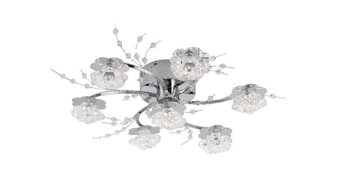 EEK B, LED-Deckenleuchte Karimu - Metall/ Glas - Silber, Leuchten Direkt