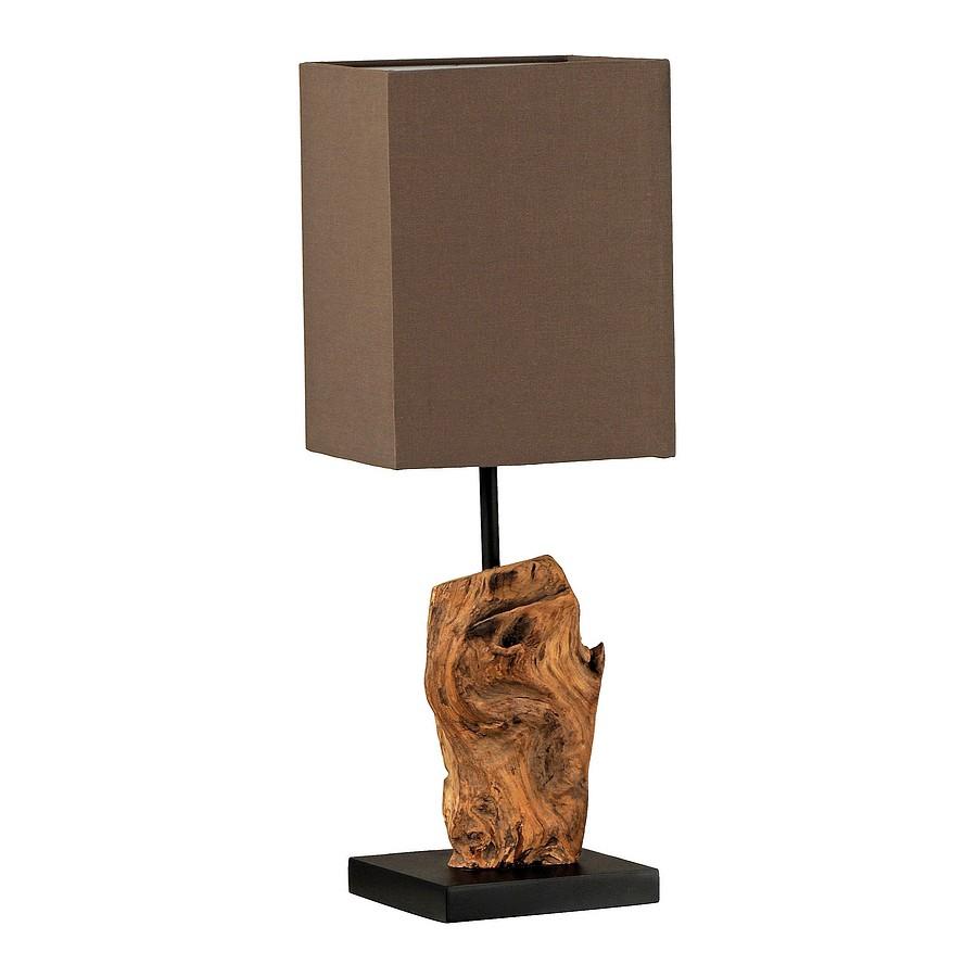 EEK A++, Lampe de table Abuja - Bois flotté / Coton - 1 ampoule, Paul Neuhaus