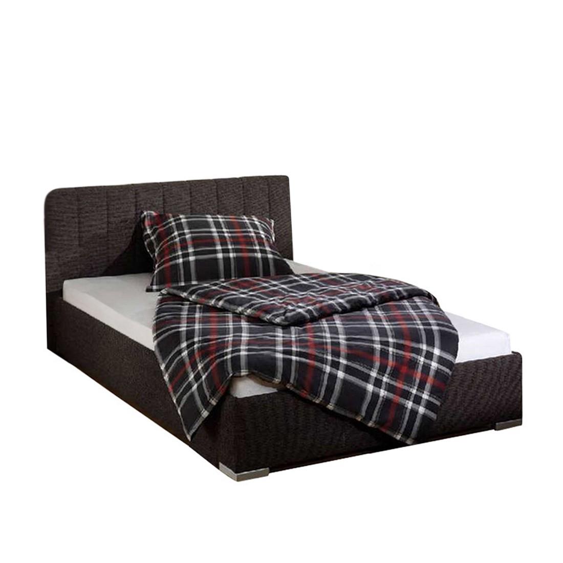 goedkoop Bed New Jersey structuurstof 160 x 200cm Bedframe zonder matras & lattenbodem Bruin Monaco
