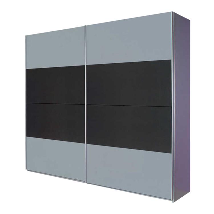 Armoire à portes coulissantes Quadra I - Aluminium brossé / Gris métalisé - 136 cm (2 portes) - 210 cm, Rauch