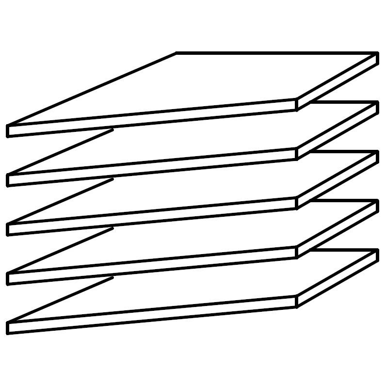 Inlegplank van 39cm voor hoekkast (5-delige set), Rauch Packs