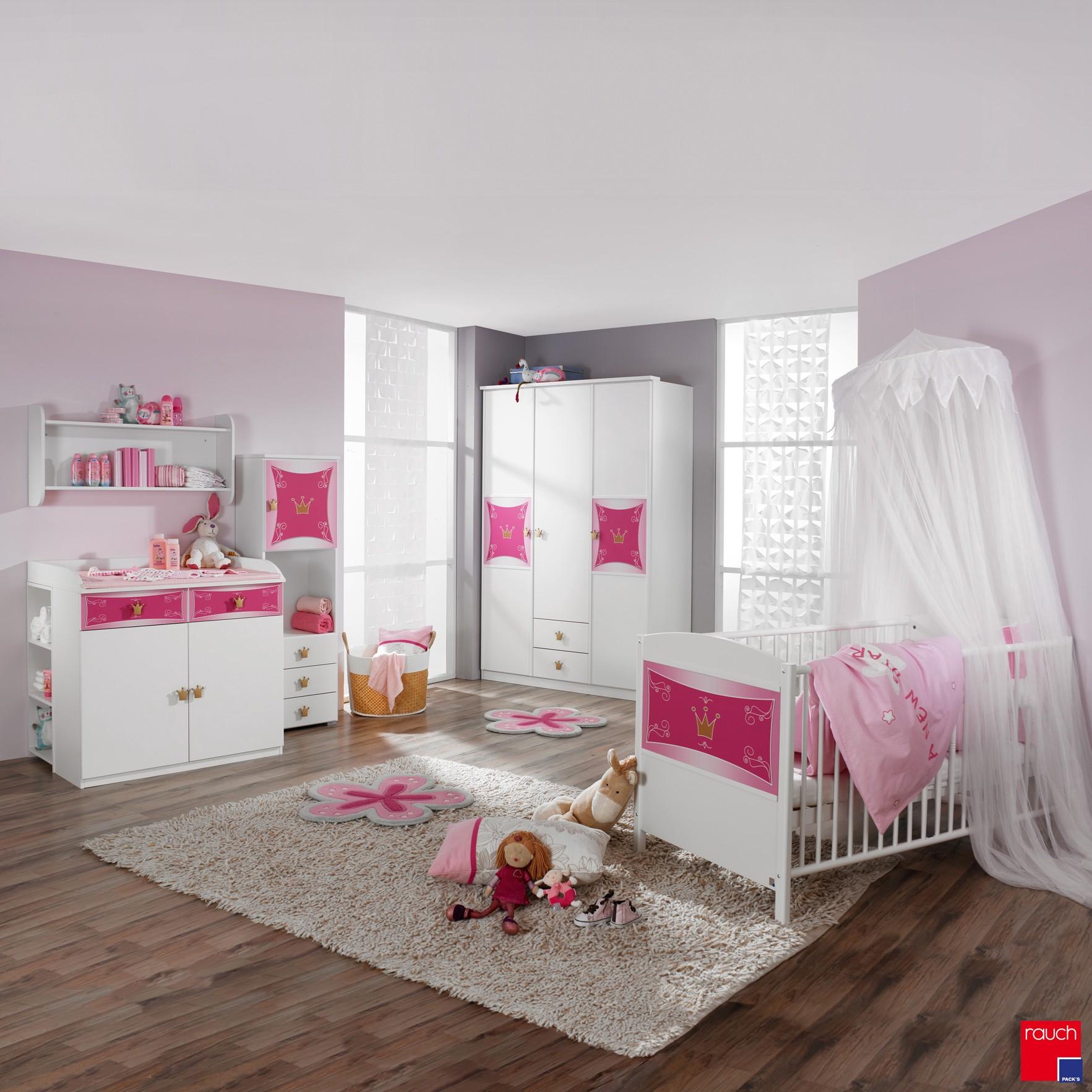 Ensemble économique Kate (3 éléments) - Lit pour bébé, commode à langer et armoire vêtements Blanc / Rose, Rauch Packs