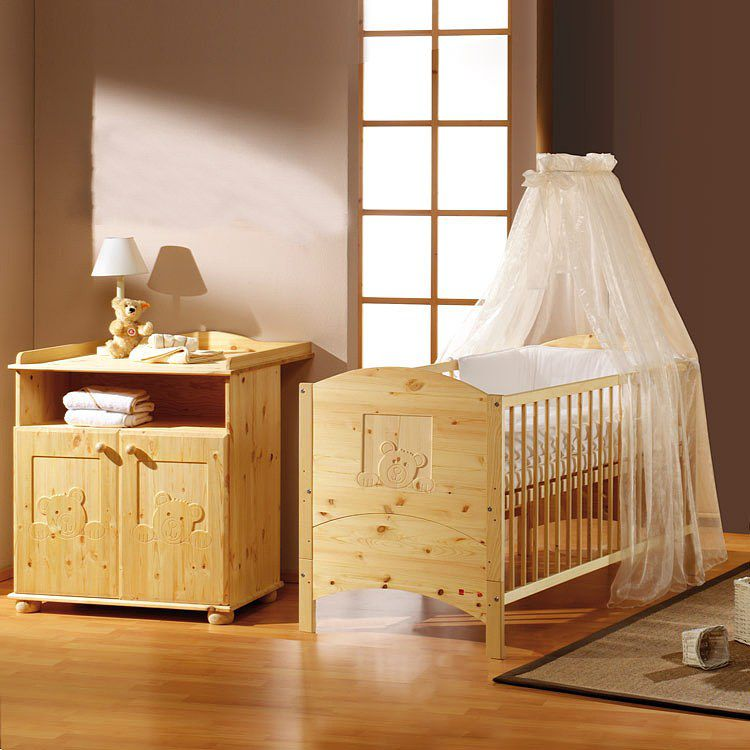 Babyzimmer Dream (2-teilig) - Kiefer massiv, Sc...