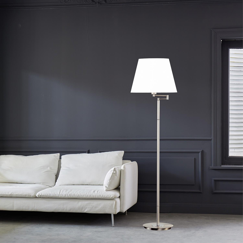 home24 Fischer & Honsel Stehleuchte Wiesbaden Metall/Textil Chrom/Weiß Ø 42 cm E27