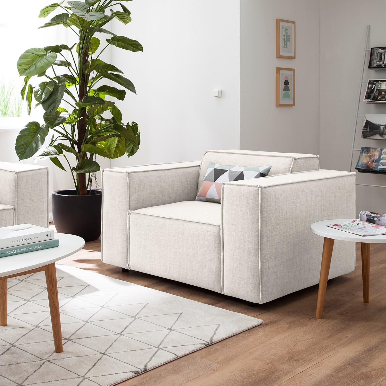 home24 Sessel Kinx Altweiß Webstoff 120x72x96 cm (BxHxT)