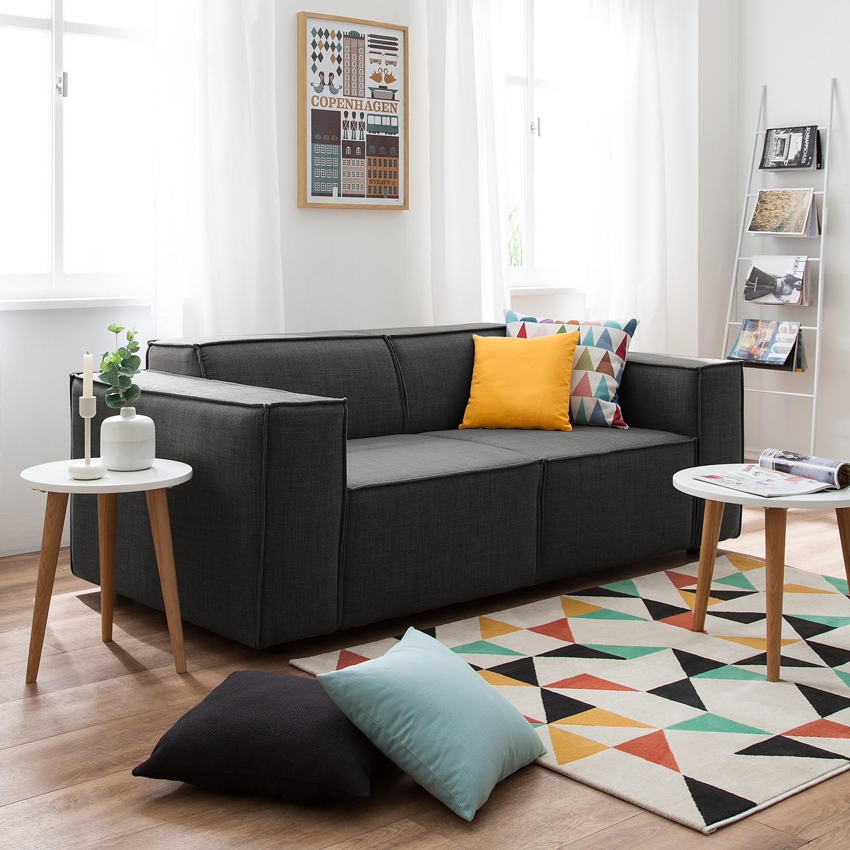 home24 Sofa Kinx 2-Sitzer Anthrazit Webstoff 189x72x96 cm (BxHxT) Modern