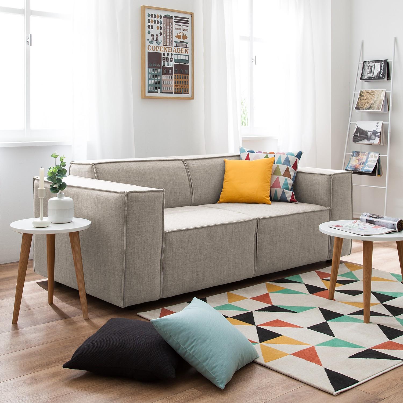 home24 Sofa Kinx 2-Sitzer Beige Webstoff 189x72x96 cm (BxHxT) Modern