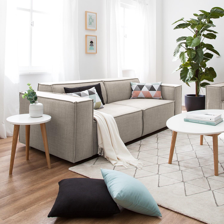 home24 Sofa Kinx 2,5-Sitzer Beige Webstoff 223x72x96 cm (BxHxT) Modern
