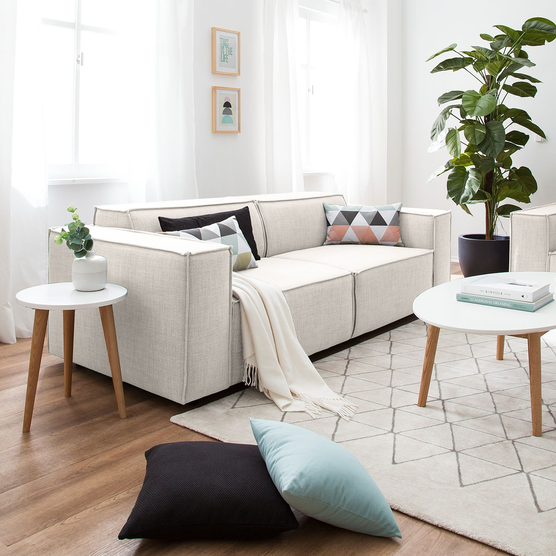 home24 Sofa Kinx 2,5-Sitzer Altweiß Webstoff 223x72x96 cm (BxHxT) Modern