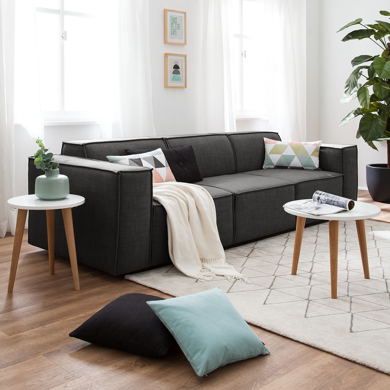 home24 Sofa Kinx 3-Sitzer Anthrazit Webstoff 260x72x96 cm (BxHxT) Modern