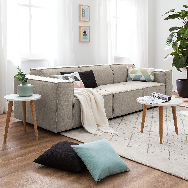 home24 Sofa Kinx 3-Sitzer Beige Webstoff 260x72x96 cm (BxHxT) Modern