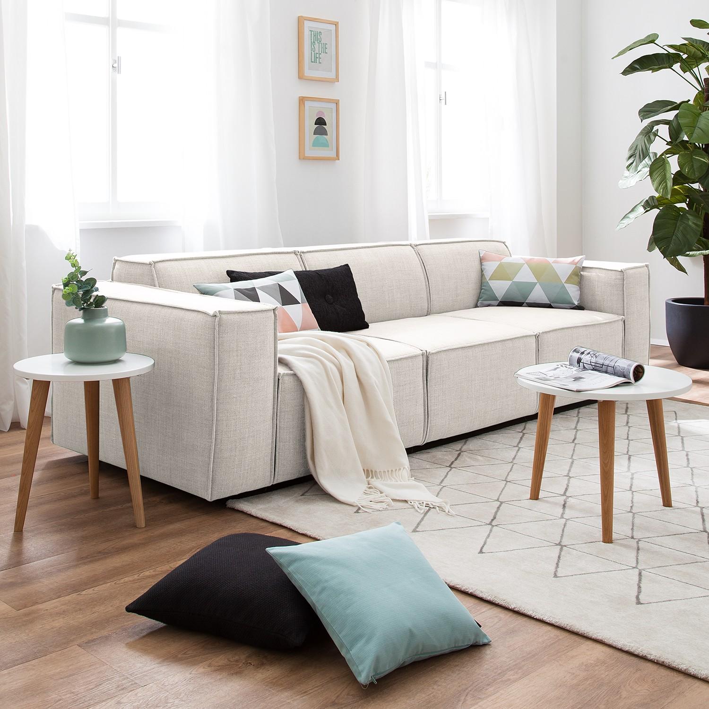 home24 Sofa Kinx 3-Sitzer Altweiß Webstoff 260x72x96 cm (BxHxT) Modern