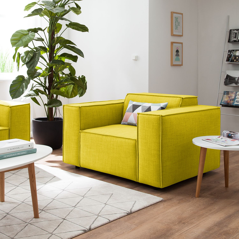 home24 Sessel Kinx Gelb Webstoff 120x72x96 cm (BxHxT)