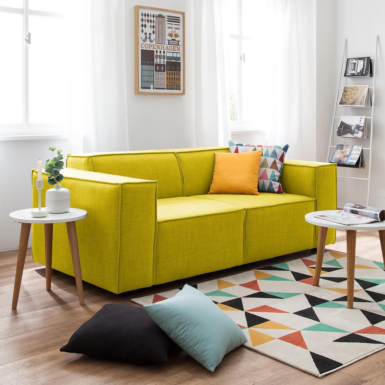 home24 Sofa Kinx 2-Sitzer Gelb Webstoff 189x72x96 cm (BxHxT) Modern
