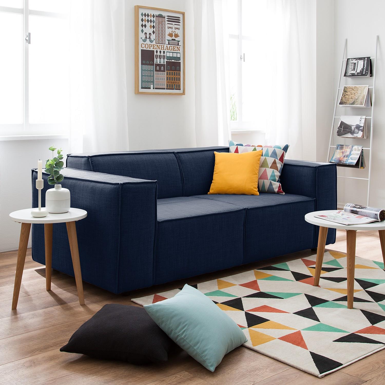 home24 Sofa Kinx 2-Sitzer Dunkelblau Webstoff 189x72x96 cm (BxHxT) Modern