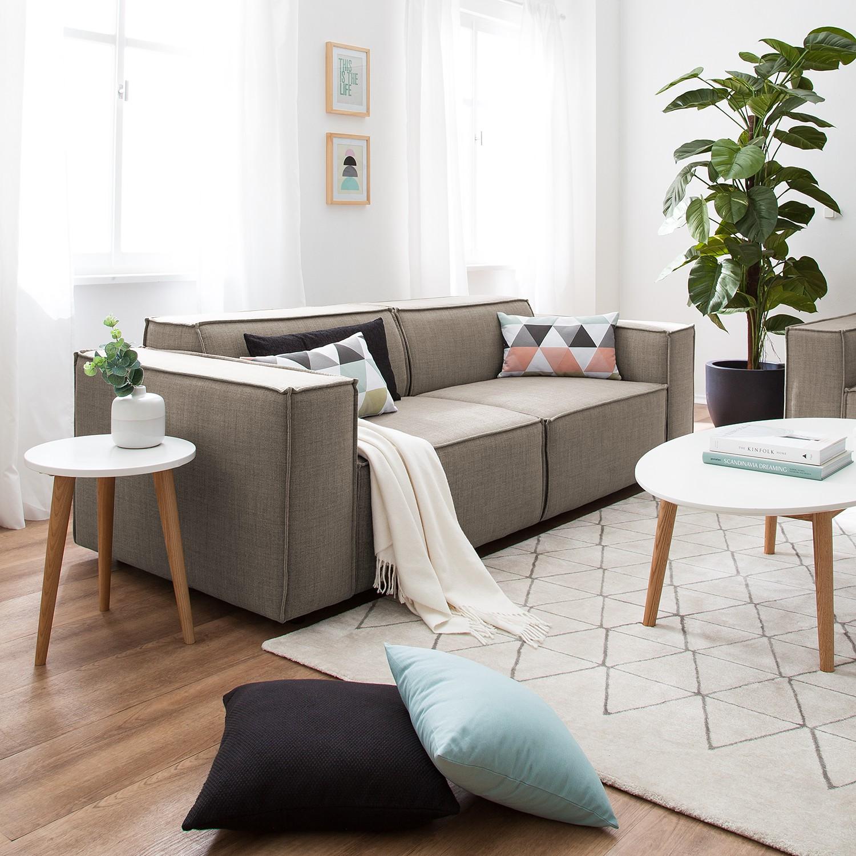 home24 Sofa Kinx 2,5-Sitzer Grau/Braun Webstoff 223x72x96 cm (BxHxT) Modern