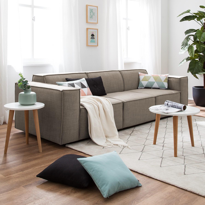 home24 Sofa Kinx 3-Sitzer Grau/Braun Webstoff 260x72x96 cm (BxHxT) Modern
