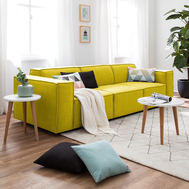 home24 Sofa Kinx 3-Sitzer Gelb Webstoff 260x72x96 cm (BxHxT) Modern