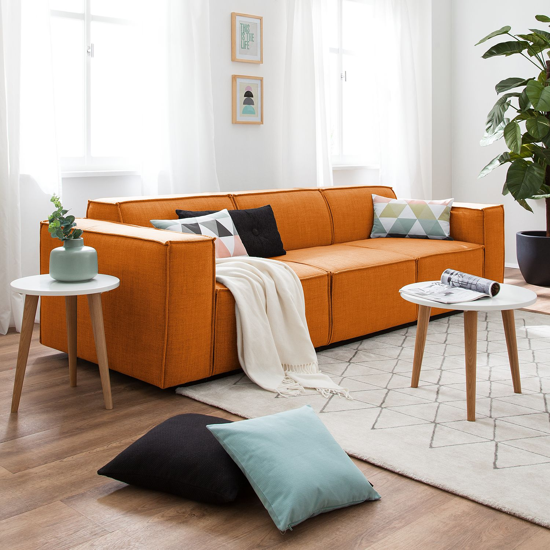 home24 Sofa Kinx 3-Sitzer Rostbraun Webstoff 260x72x96 cm (BxHxT) Modern